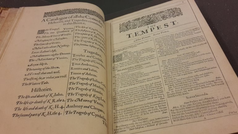 Contents page and the title page for The Tempest from the Second Folio, 1632