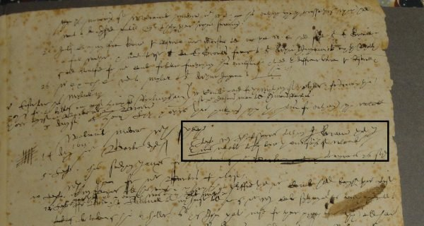 "Extract from diary of Thomas Greene, 1614 (BRU15/13/29). ""W. Shakespeare telling J. Greene that I was not able to beare the enclosing of Welcombe""."