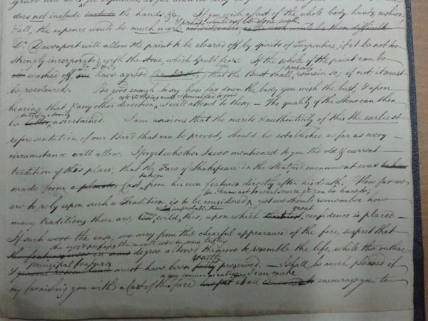 Original letter, R. B. Wheler to John Britton (ER1/34/3)