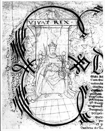 Detail of 1553 Stratford-upon-Avon Borough Charter depicting King Edward VI