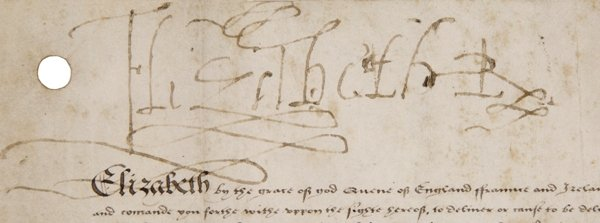 Signature of Elizabeth I on a warrant in the Shakespeare Birthplace Trust Collections (ref: ER115)
