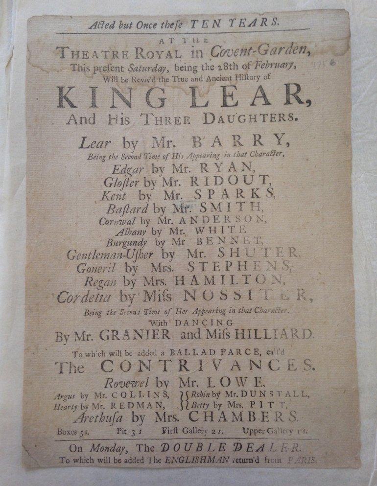 King Lear Playbill 1756 — Covent Garden