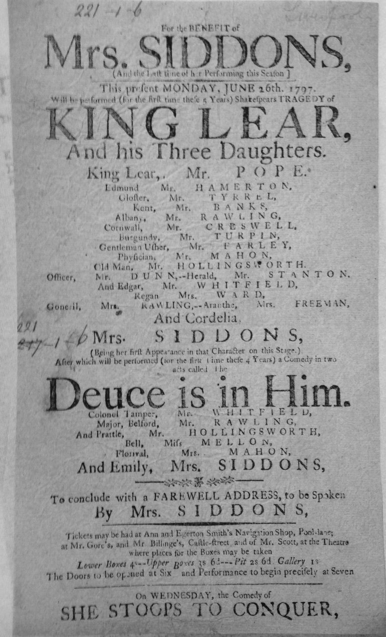 King Lear Playbill 1797 — Liverpool