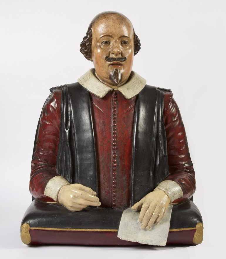 A plaster cast bust of Shakespeare, made in 1814. [SBT1868-3/280]