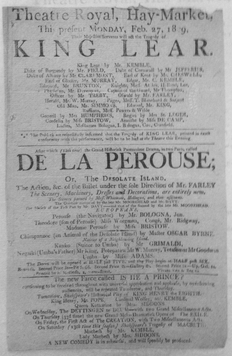 King Lear Playbill 1809 — Haymarket