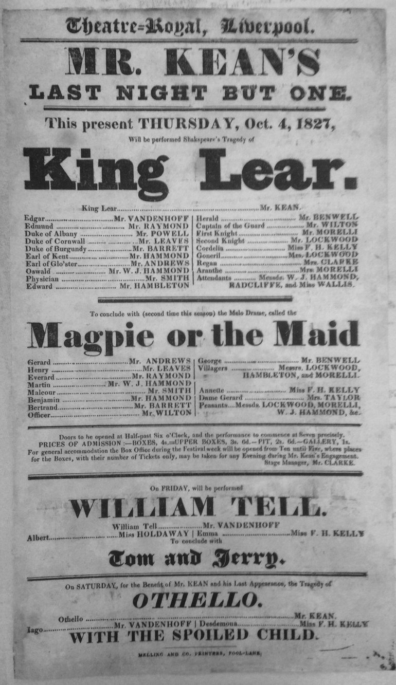 King Lear Playbill 1827 — Liverpool