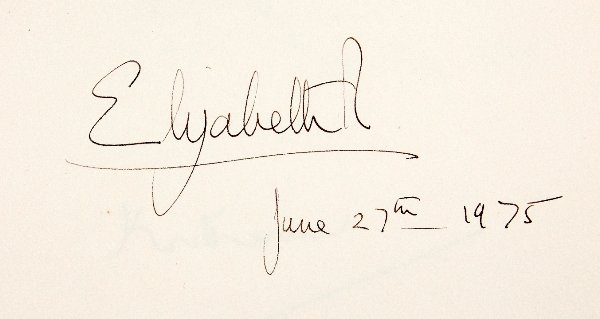 Signature of Elizabeth II from the Shakespeare Birthplace Trust's Visitor Book, June 27th 1975