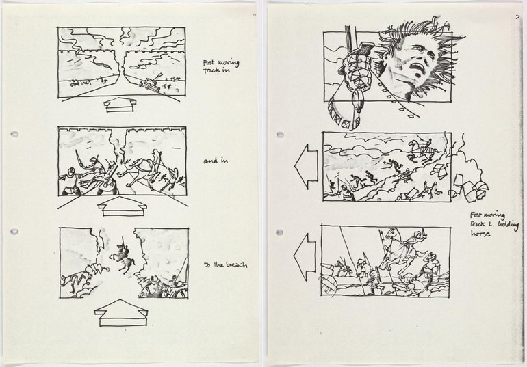 """Storyboard for for the Renaissance Films production of 'Henry V', showing Henry's speech at Harfleur: """"Once more unto the breach, dear friends, once more""""."""