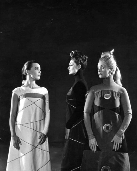 Production image showing King Lear's daughters, with costume design by Isamu Noguchi. © Angus McBean, RSC