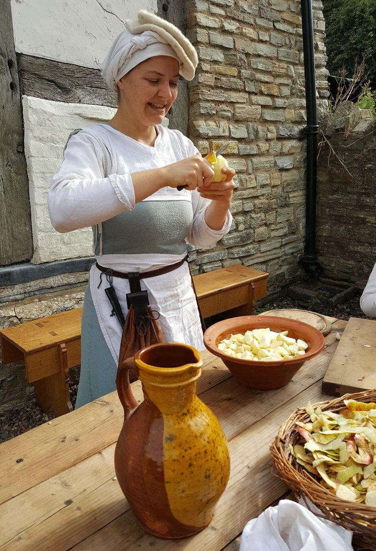 Cutting Apples at Mary Arden's Farm