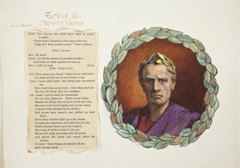'Scene III: Caesar's House', illustrated with a portrait of Julius Caesar