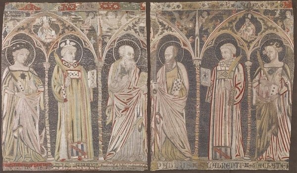 Embroidered altar frontal with standing saints – Italian, 14th century