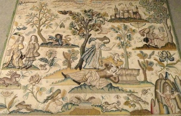 Raised work panel, with central story of 'Pyramus & Thisbe' – English, mid 17th century