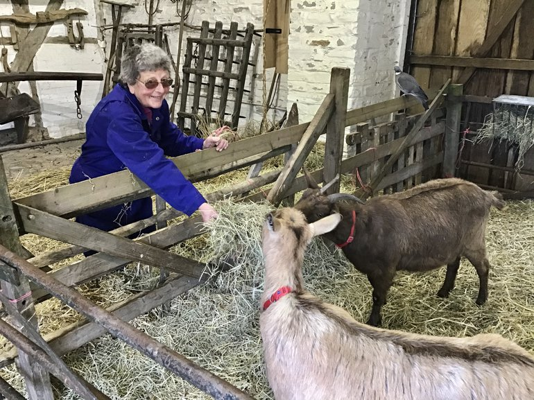 Faye with goat