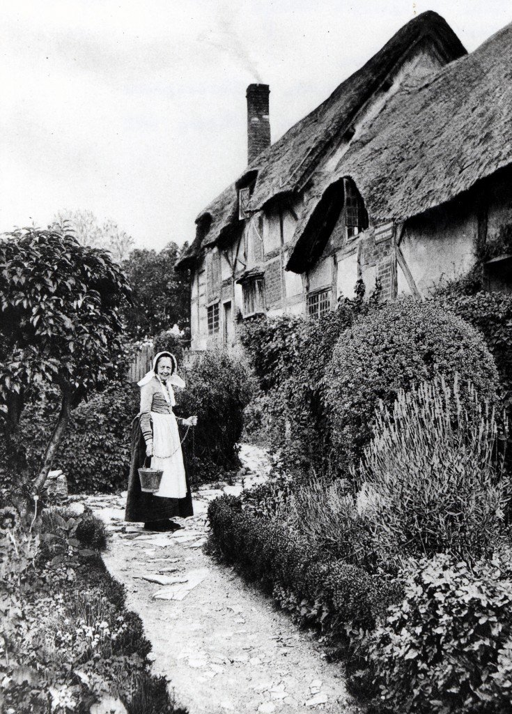 A photograph of Anne Hathaway's Cottage just after the flower garden was developed, c.1892.