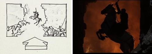 A selection of the storyboard from the 1989 'Henry V' alongside a still from the film.