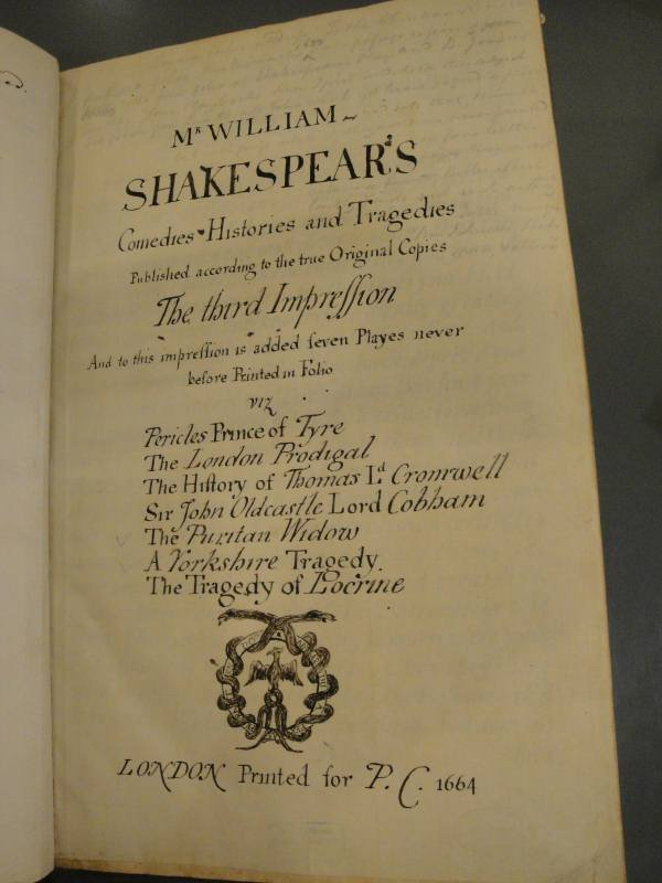 Collier's ink recreation of a title page for The Third Folio