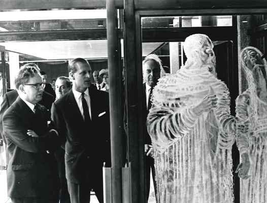 HRH Prince Philip, Duke of Edinburgh, and Levi Fox, former Director of the Shakespeare Birthplace Trust, at the official opening of the Shakespeare Centre in 1964.
