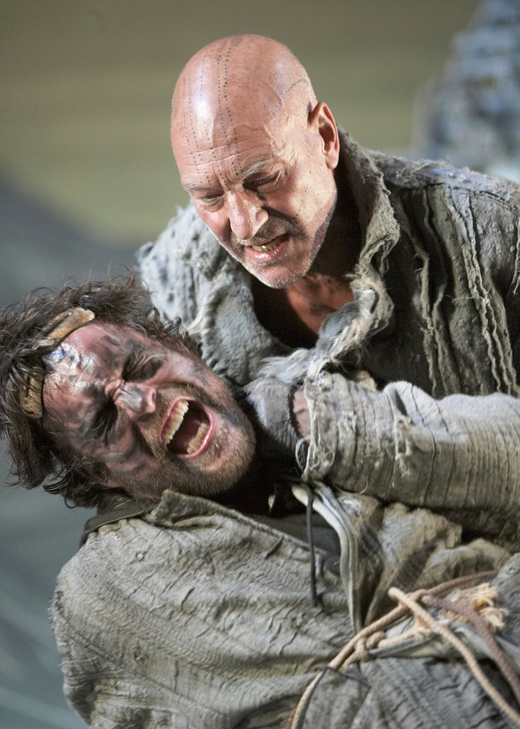 John Light as Caliban, Patrick Stewart as Prospero