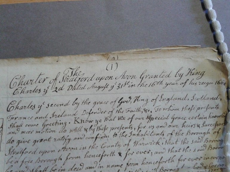 Handwritten copy, by John Jordan, of a charter granted by King Charles II to the Borough of Stratford upon Avon from 1664 (ER3/2429)