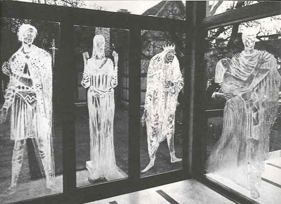 Macbeth and Lady Macbeth windows overlooking the Birthplace (along with Richard III and Antony & Cleopatra)