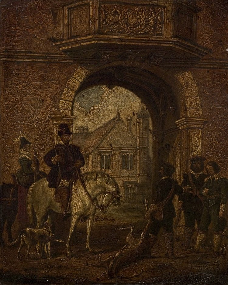 SBT 1970-7 The Deer-stealing Episode at Charlecote by Unknown Artist of the British School