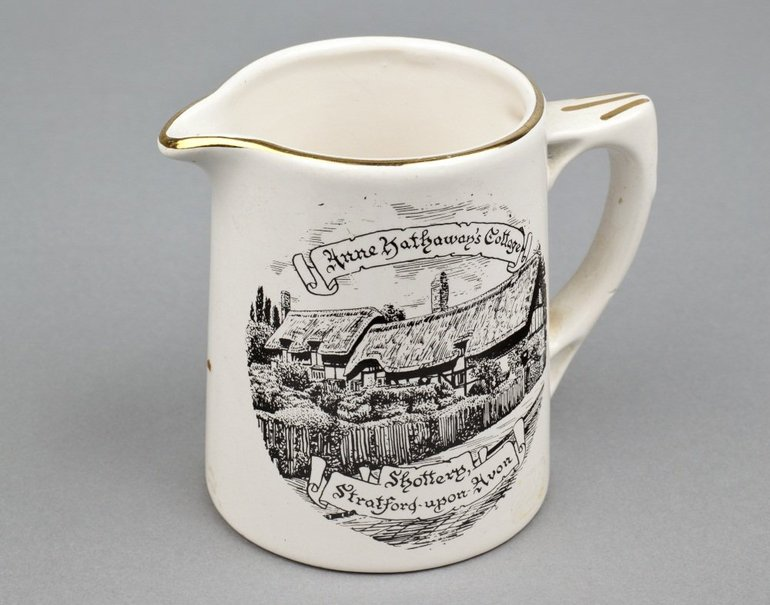 Mercian China pottery jug with cottage, 1970s