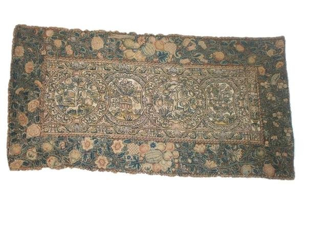 A late 16th/early 17th-century embroidered table carpet from the Shakespeare Birthplace Trust collections.