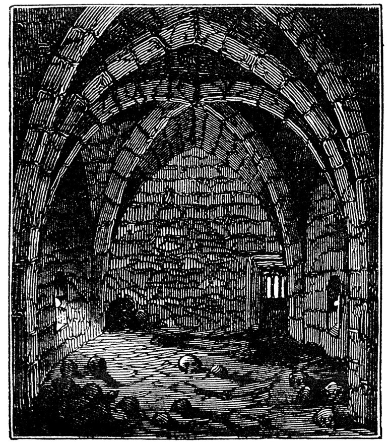 An etching illustrating the interior 'crypt', reprinted in James Halliwell 'The Life of William Shakespeare', (1848).