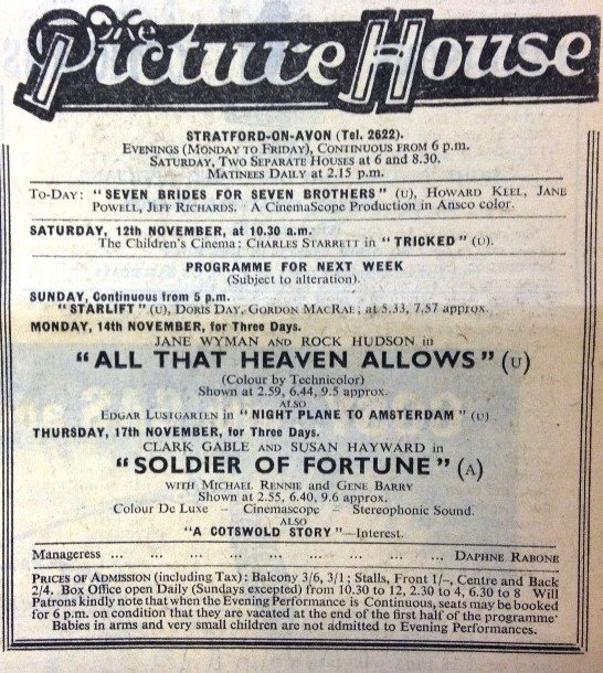 Cinema listings, 1955