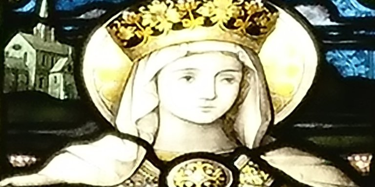 A close up of St Elizabeth stained glass window