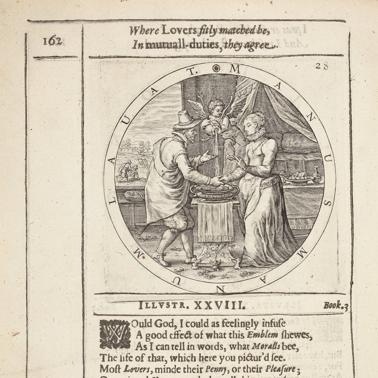 George Wither's 'A Collection of Emblemes, Ancient and Moderne' (London, 1635) with an illustration of Image of a couple and a cupid.