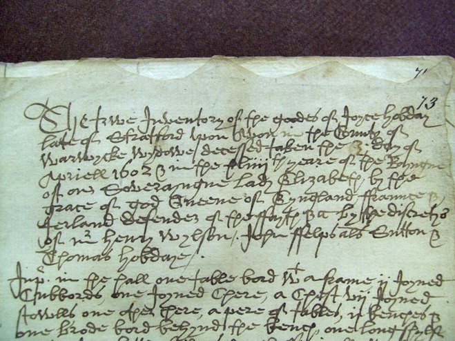 Detail from the 1602 inventory of Joyce Hobday.