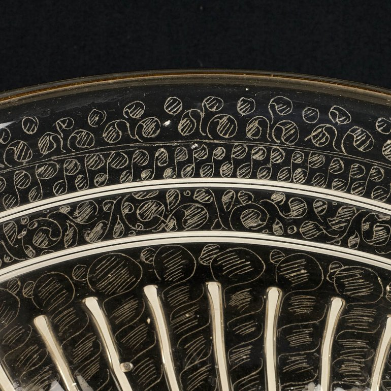 Detail of diamond point engraving on the wine bowl