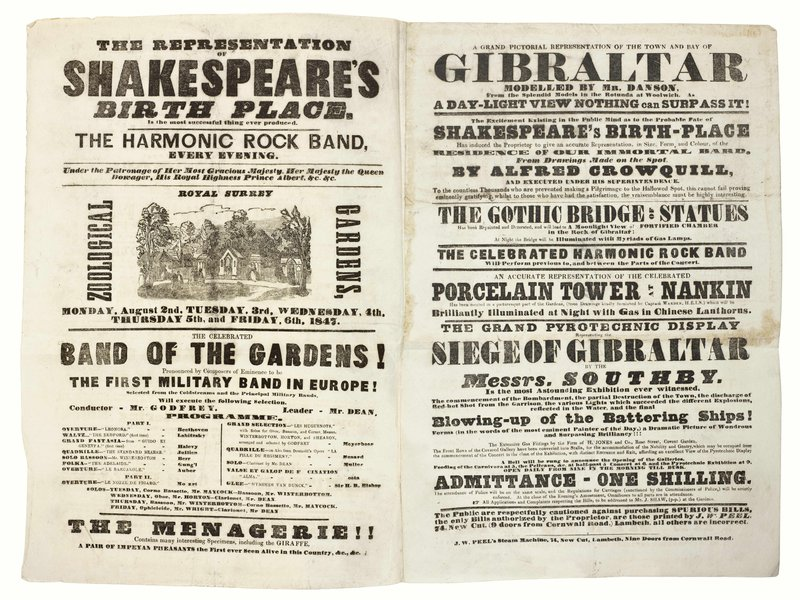 Publicity for Surrey Gardens
