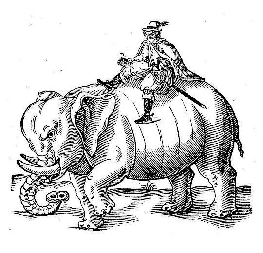 Thomas Coryat, on an elephant, in India.