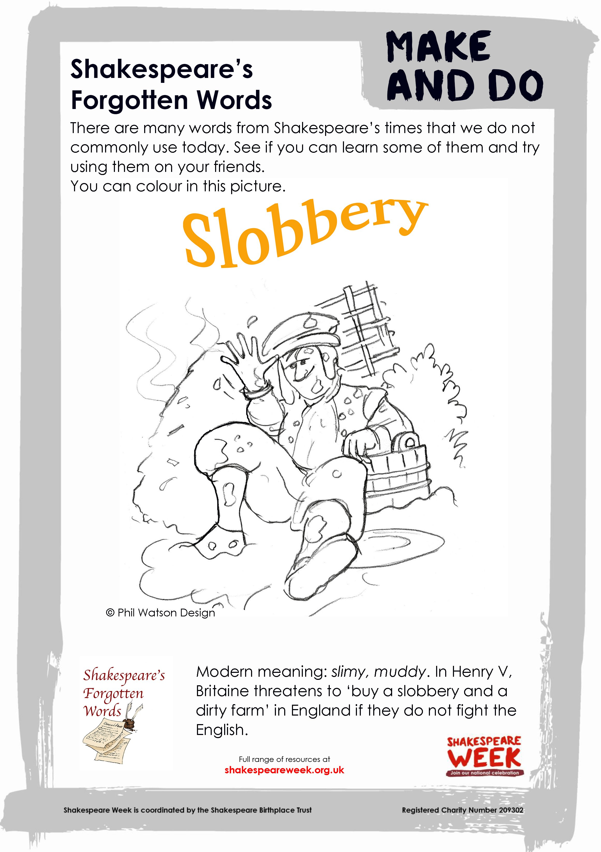 Forgotten Words - slobbery colouring sheet