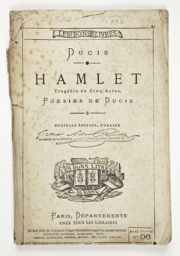 Hamlet in French translated by Francois Victor Ducis