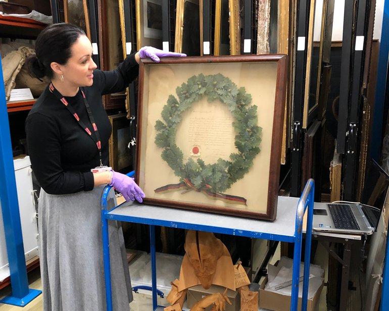 Helen Hopkins with a German wreath