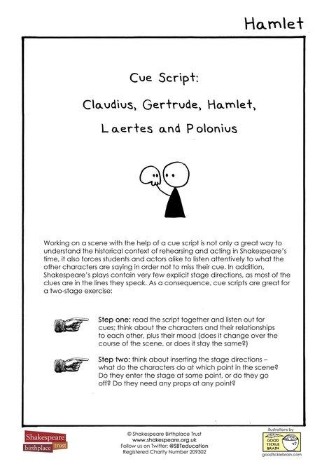 Cue Script Hamlet: Claudius, Gertrude, Hamlet, Laertes and Polonius