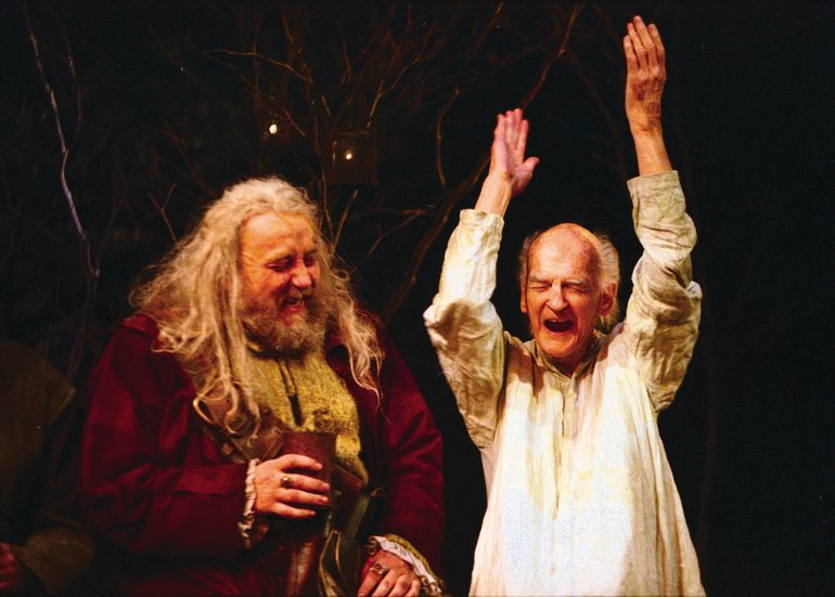 Falstaff and Justice Silence in the RSC production of Henry IV Part 2, 2000.