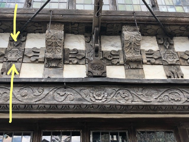 T.R. (Thomas Rogers) carved into facade of Harvard House