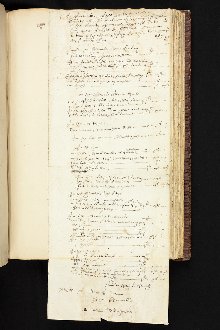 Inventory of Bartholomew Hathaway of Shottery, 1624