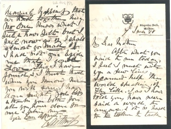 DR 198/53 Letter from James Sinclair, Earl of Caithness to Lady Philips, 1871