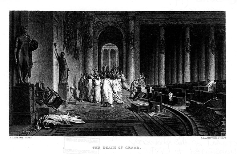 The Death of Caesar, a 19th century engraving