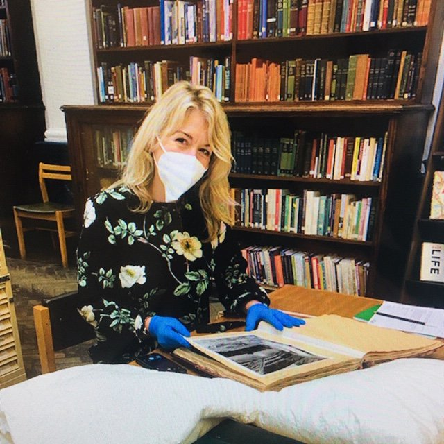 Me researching underground library in Covid age Kate Thompson.JPG