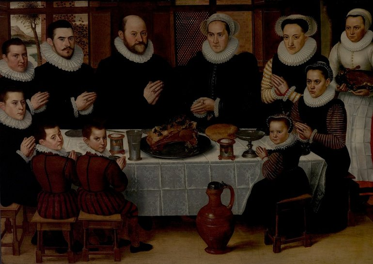 Object number 36: Antoon Claeissins, 'A Family Saying Grace', c.1585, Oil on wood
