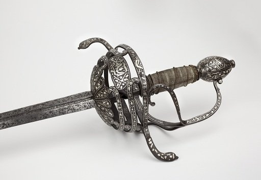 Object number 39: A Spanish rapier, silver and steel, about 1600.