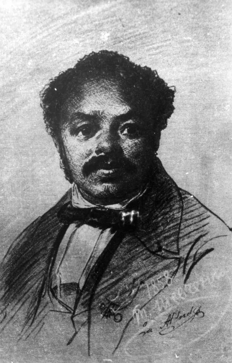 Drawing of Ira Aldridge by a Ukranian poet