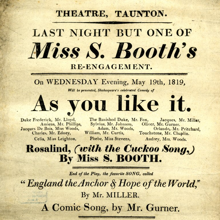 As You Like It Playbill at the Taunton 1819